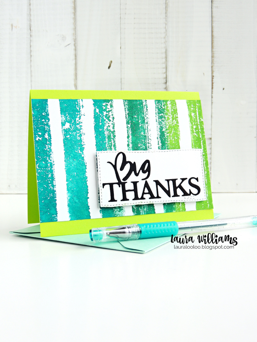 This is such a simple and fun thank you card, and you can customize it for any color scheme. Ink up the Watercolor Lines rubber stamp with a variety of colors, and then stamp to create a beautiful striped background. Then add a simple die cut Big Thanks sentiment for a striking and easy card to duplicate for all the people you want to say THANK YOU to! Visit my blog for more clean and simple cardmaking ideas like this.
