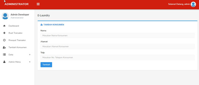 tampilan Admin Aplikasi Manajemen Laundry berbasis Web