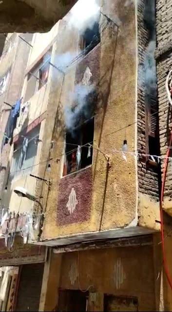 السيطرة علي حريق نشب بوحده سكنيه بمنطقة بين السريات بالدقي فى محافظة الجيزة