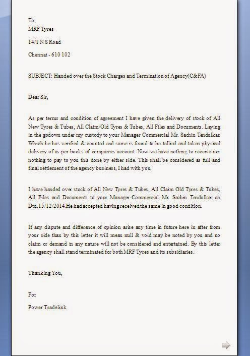 contract termination confirmation letter