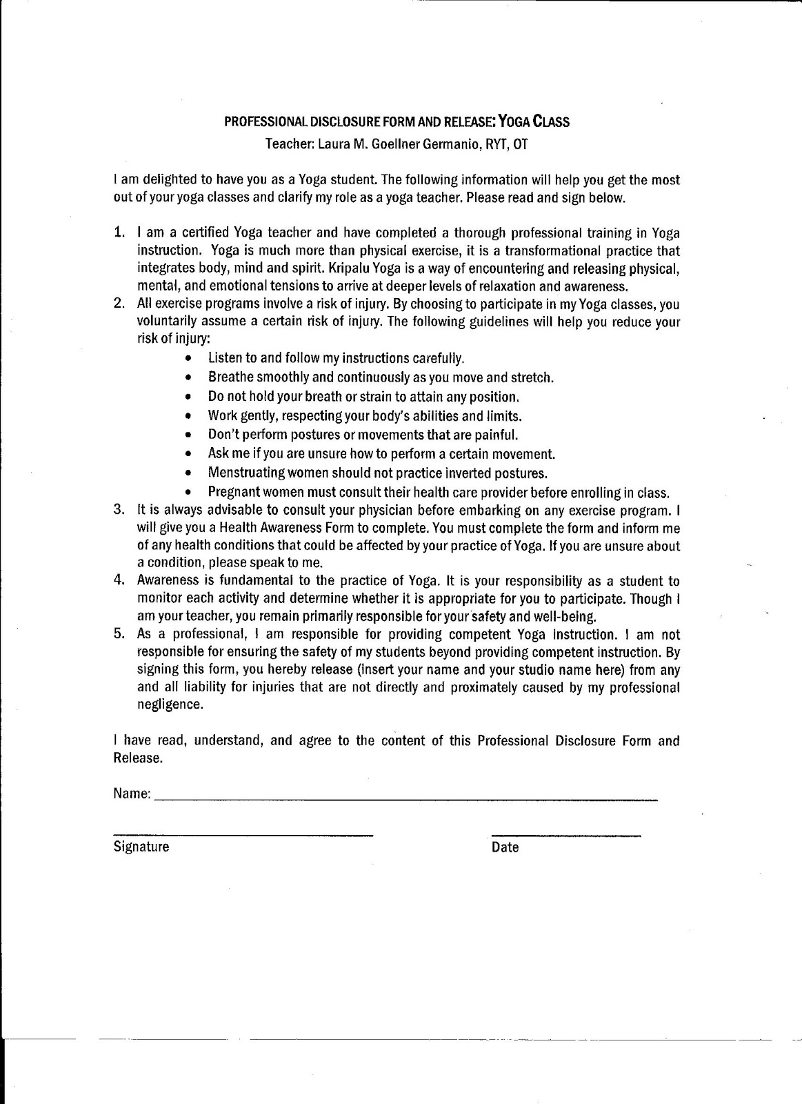 Release Form Personal Training – Release of Liability Letter Template