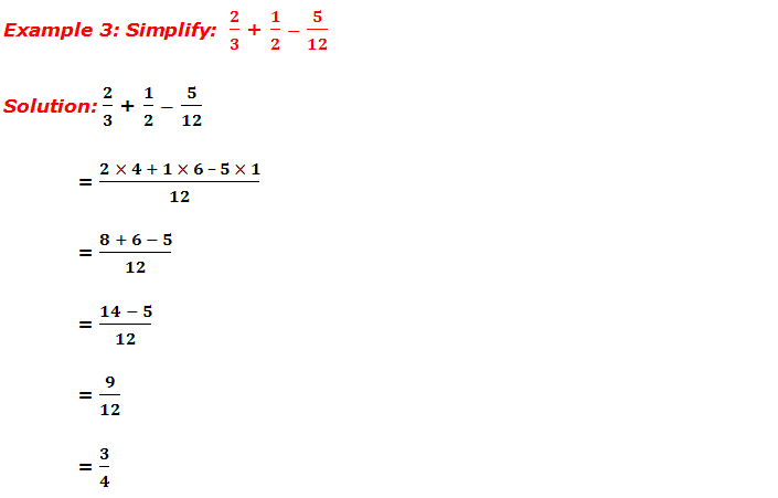 Example 3: Simplify of fractions