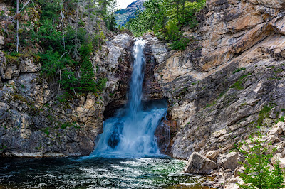 A Photo of Running Eagle Falls, aka Trick Falls, in the Two Medicine Area of Glacier National Park, Montana.