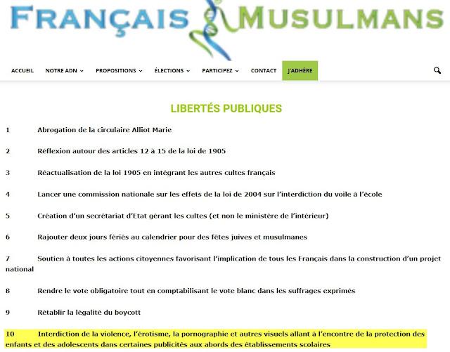 """Programme politique pour les libertés publiques, remanié, du parti islamiste """"Français ET Musulmans"""""""