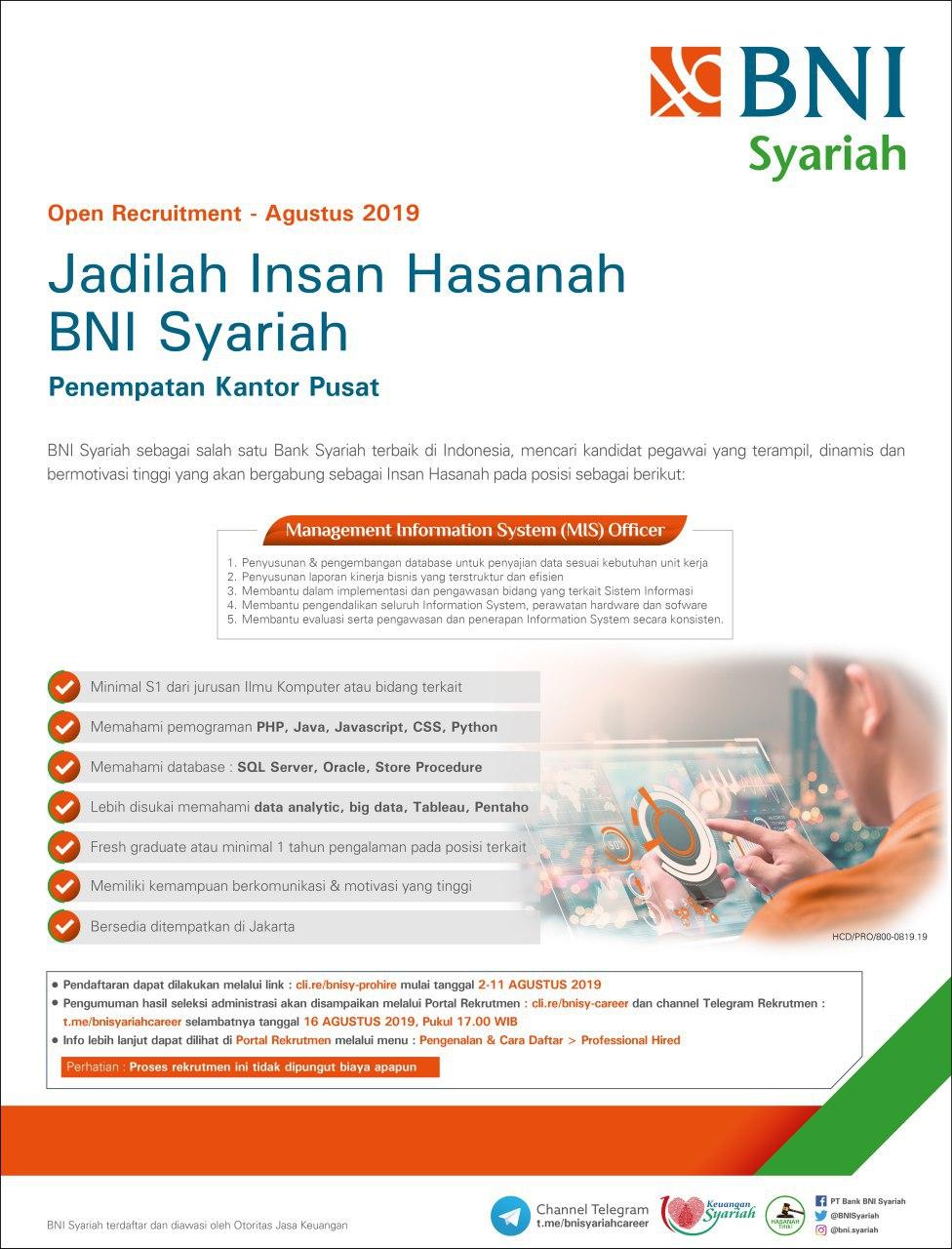 Lowongan Kerja MIS Officer Bank BNI Syariah Sampai 11 Agustus 2019