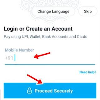 Mobile number enter kar proceed securely par click kare