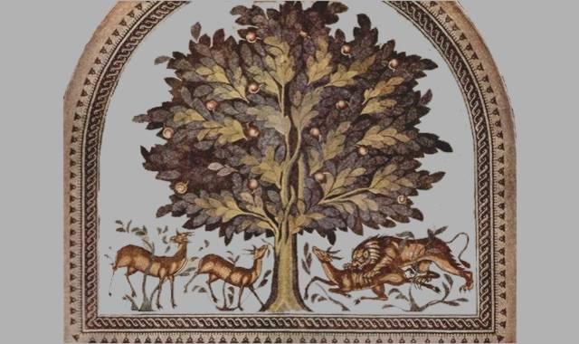 stilisierter Apfelbaum und Tiere