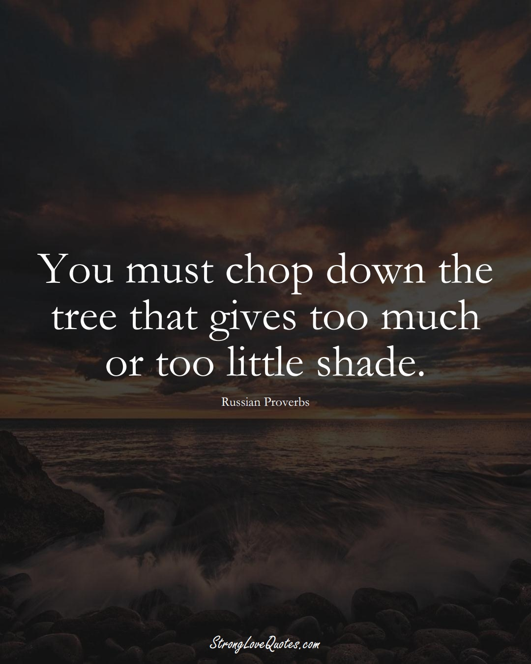 You must chop down the tree that gives too much or too little shade. (Russian Sayings);  #AsianSayings