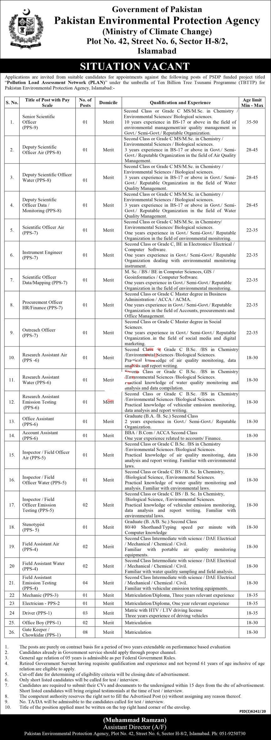 Pakistan Environmental Protection Agency PEPA Jobs 2021 for Senior Scientific Officer, Deputy Scientific Officer Air, Deputy Scientific Officer Water, Deputy Scientific Officer Monitoring, Office Assistant and many more