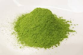 Matcha pulverized green tea leaf