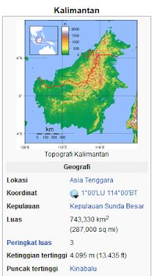 """Kalimantan (toponim: Kalamantan, Calémantan, Kalémantan, Kelamantan, Kilamantan, Klamantan, Klémantan, K'lemantan, Quallamontan) atau juga disebut Borneo, adalah pulau terbesar ketiga di dunia yang terletak di sebelah utara Pulau Jawa, sebelah timur pulau Sumatera dan di sebelah barat Pulau Sulawesi. Pulau Kalimantan dibagi menjadi wilayah Indonesia (73%), Malaysia (26%), dan Brunei (1%). Pulau Kalimantan terkenal dengan julukan """"Pulau Seribu Sungai"""" karena banyaknya sungai yang mengalir di pulau Kalimantan."""