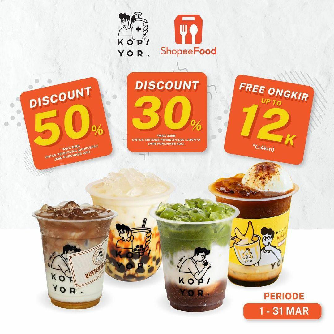 KOPI YOR Promo DISKON hingga 50% pemesanan via SHOPEE FOOD
