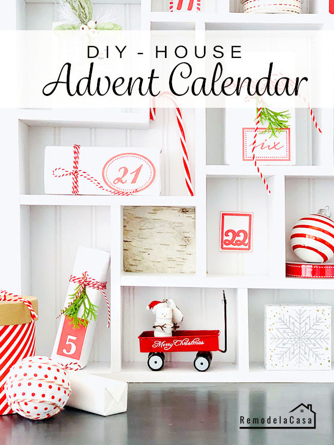 white and red Christmas House advent calendar #thdprospective