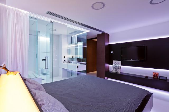 Banheiro Integrado Ao Quarto Pequeno ~  Essa su?te tamb?m tem o banheiro envidra?ado integrado ao quarto