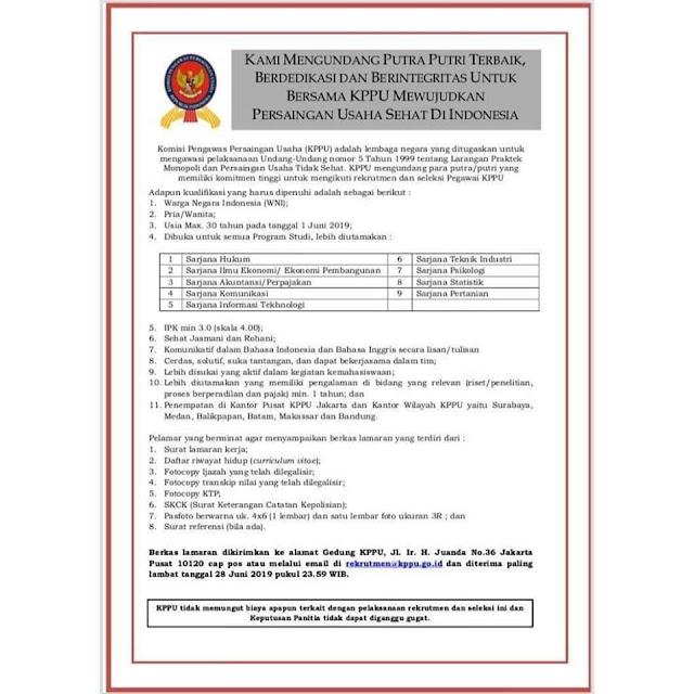 Rekrutmen Pegawai Komisi Pengawas Persaingan Usaha (KPPU)