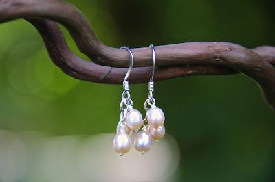 pink peach white freshwater pearl cluster earrings drop dangle earrings brides bridesmaids wedding handmade
