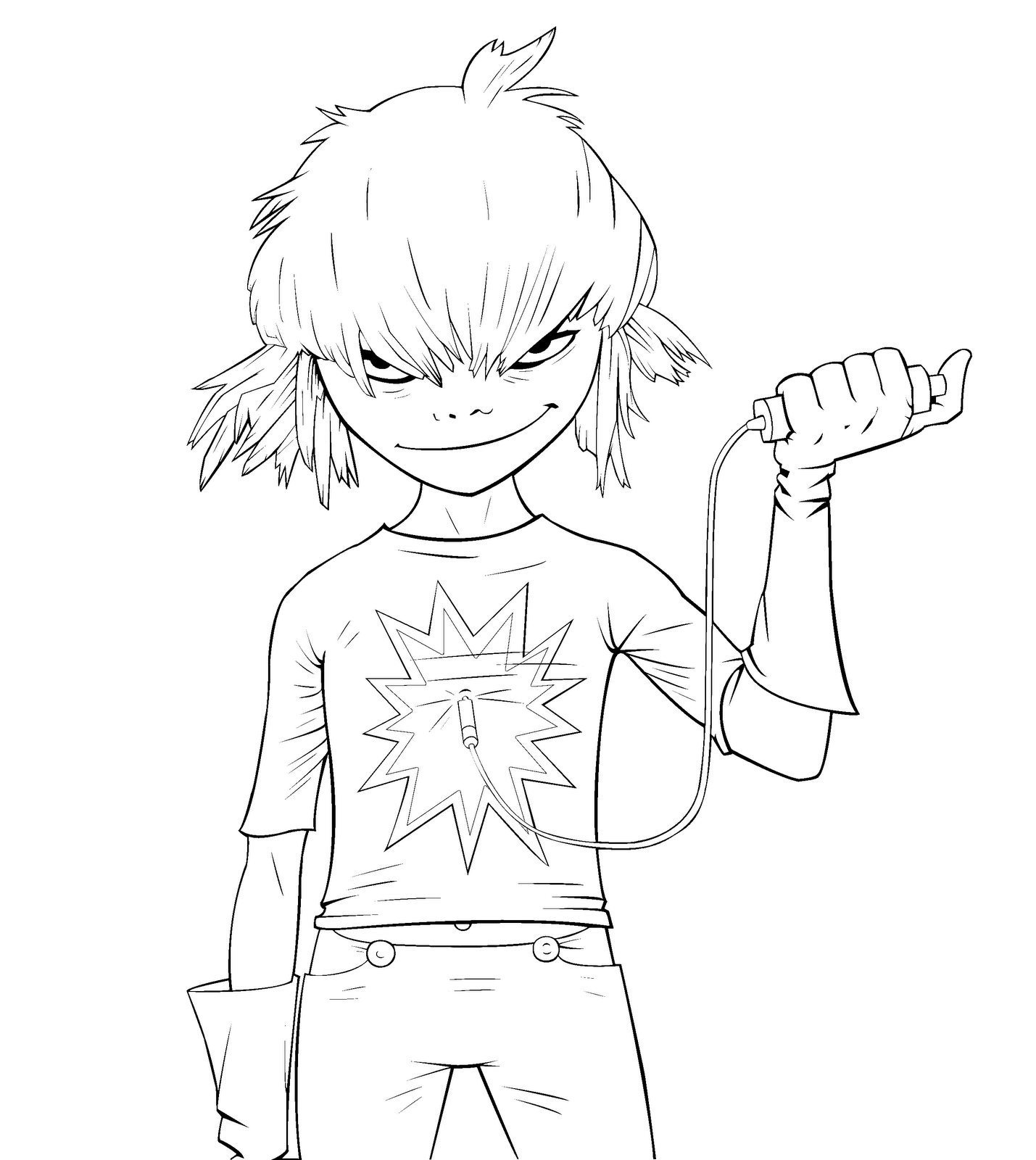 Gorillaz Coloring Pages - Coloring Pages Kids 2019 | 1600x1429
