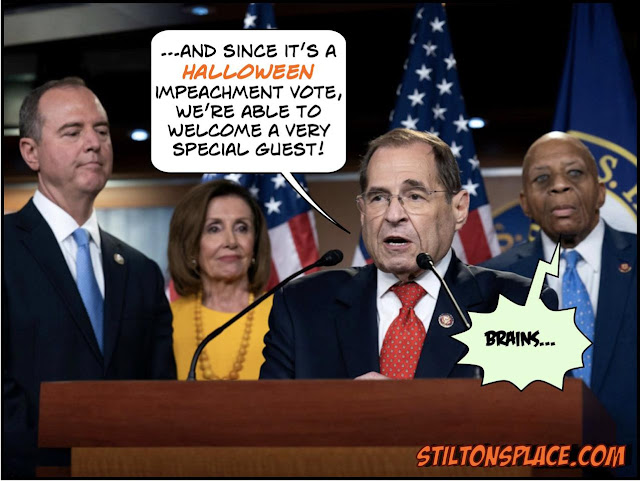 stilton's place, stilton, political, humor, conservative, cartoons, jokes, hope n' change, trump, impeachment, vote, inquiry, schiff, cummings, halloween