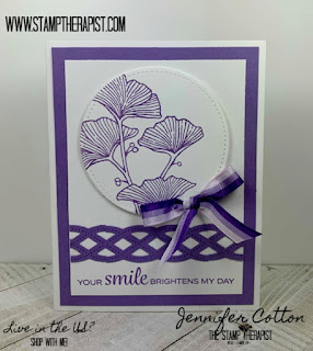 This purple card uses Stampin' Up! Beautifully Braided Bundle (includes the Braided Border Punch)!  These two products are retiring in June 2020!  Click the pic to go to the blog and see the video!  #StampTherapist #StampinUp