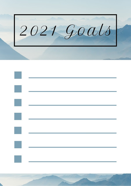 2021 goals list - free printable