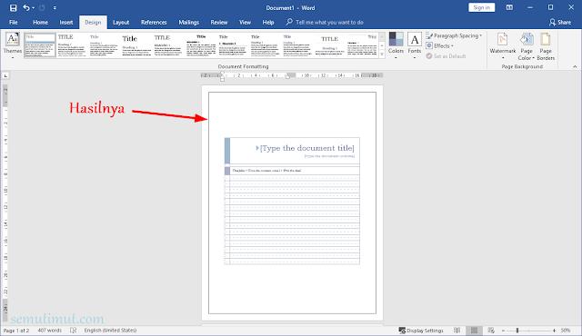 cara membuat garis pada microsoft word