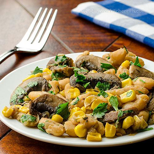 Mushroom, Corn, and White Bean Sauté
