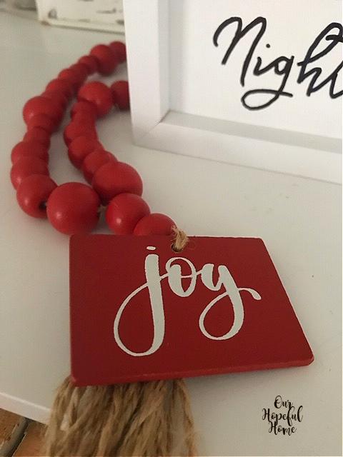 red wood joy tag bead garland