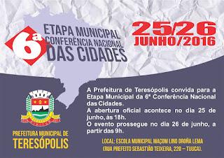 Teresópolis realiza Etapa Municipal da 6ª Conferência Nacional das Cidades neste fim de semana