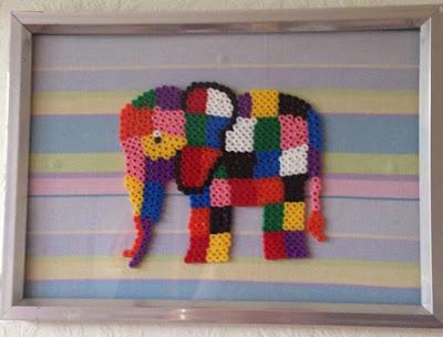 Framed Hama bead Elmer elephant
