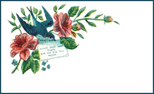 Victorian calling card with a bluebird carrying a letter.