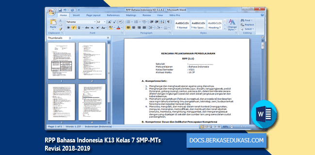 RPP Bahasa Indonesia K13 Kelas 7 SMP-MTs Revisi 2018-2019