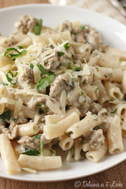 Low-FODMAP Creamy Italian Turkey Penne  /  Delicious as it Looks