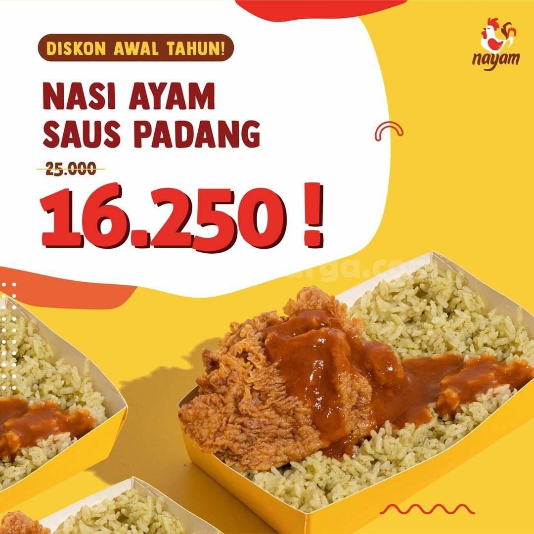 NAYAM Promo Diskon Nasi Ayam Saus Padang harga Hanya 16.250 per porsi