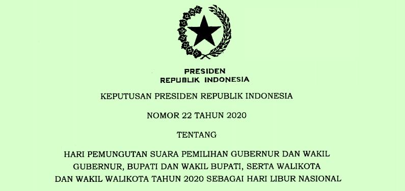 Tanggal 9 Desember 2020 Sebagai Hari Libur Nasional