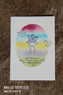 Create this cute fairy card using Aqua Painters from Stampin' Up! and some ink.