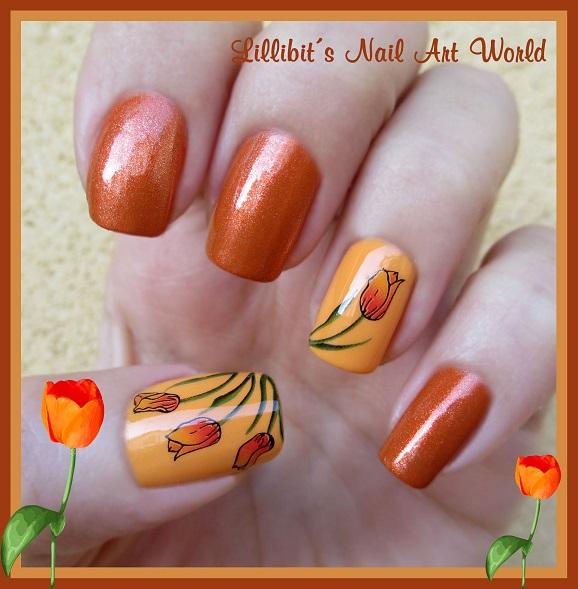 Lillibit´s Nail Art World: RETO COLORES 4 (Naranja): Tulipanes naranja