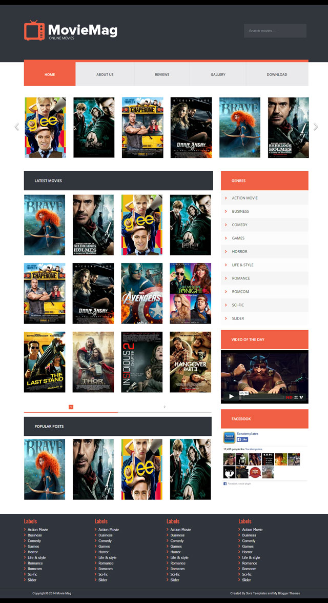 Movie Mag Template Theme New 2018 Free Version Download For Blogger ...