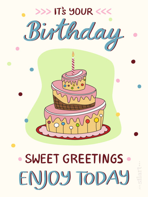 sweet greetings, birthday card, illustration