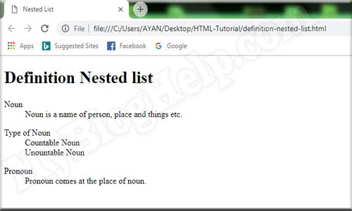 definition-nested-list
