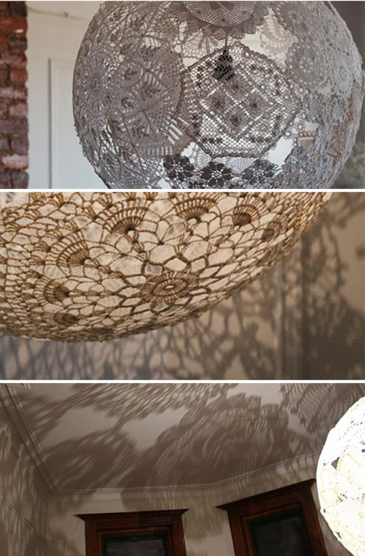 receitas de crochet lumin ria de croch doily lamp. Black Bedroom Furniture Sets. Home Design Ideas