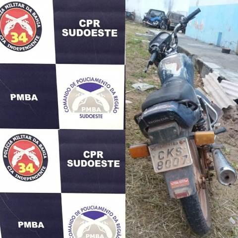 Polícia Militar recupera motocicleta roubada em Barra da Estiva