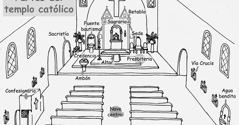 Dibujos Católicos : Partes De La Iglesia Para Colorear