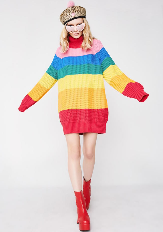 d66482c1918 This oversized rainbow striped sweater!