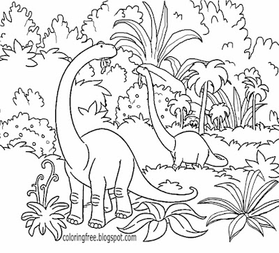 Prehistoric earth Jurassic jungle good dinosaur coloring pages Brontosaurus tropical forest terrain