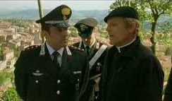 Insinna (left) with Terence Hill in a scene from the hit drama series Don Matteo