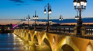The famous stone bridge in Bordeaux with 17 arches representing a letter in Napoleon's name