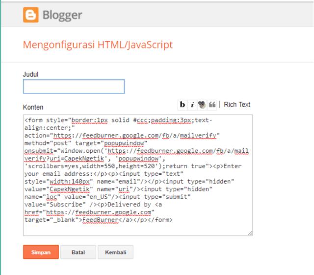 Cara Menampilkan FeedBurner di Blog