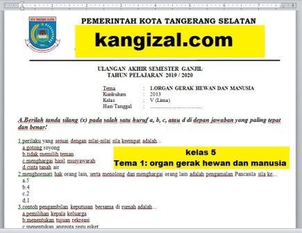 Soal UAS / PAT / UKK Kelas 5 Tema 1 Kurikulum 2013 Revisi 2019/2020 kangizal.com kang izal