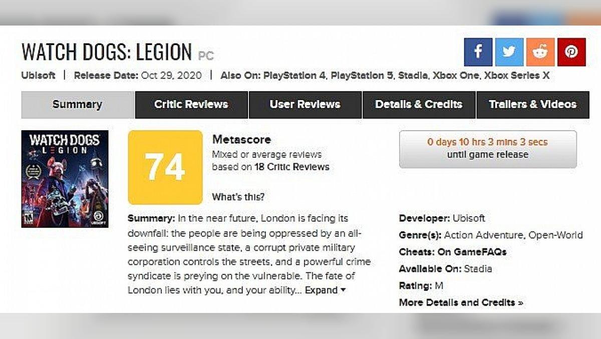 Metacritic screenshot