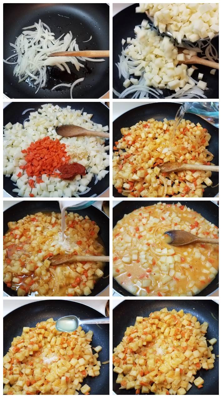 Cómo hacer el relleno de papas y zanahoria para las samosas, collage de  8 fotos